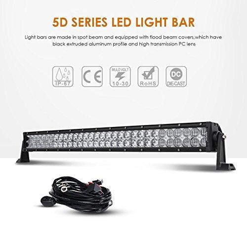 Auxbeam 50Inch LED Light Bar 288W LED Work Light Driving Light Spot Flood Combo Beam Bar 5D Lens for Car Jeep Off Road SUV UTV ATV...