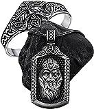 DZXCB Juego De Joyas De Amuleto Vikingo Odin, Mitología Nórdica, Nudo Celta, Runa, Escudo, Colgante, Collar, Pulsera De Acero Inoxidable para Hombre, Ajustable, Medio Abierta, Vintage