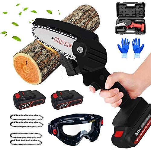 Mini juego de motosierra eléctrica, motosierra eléctrica portátil inalámbrica de mano con 2 baterías de repuesto y 4 cadenas, gafas,black