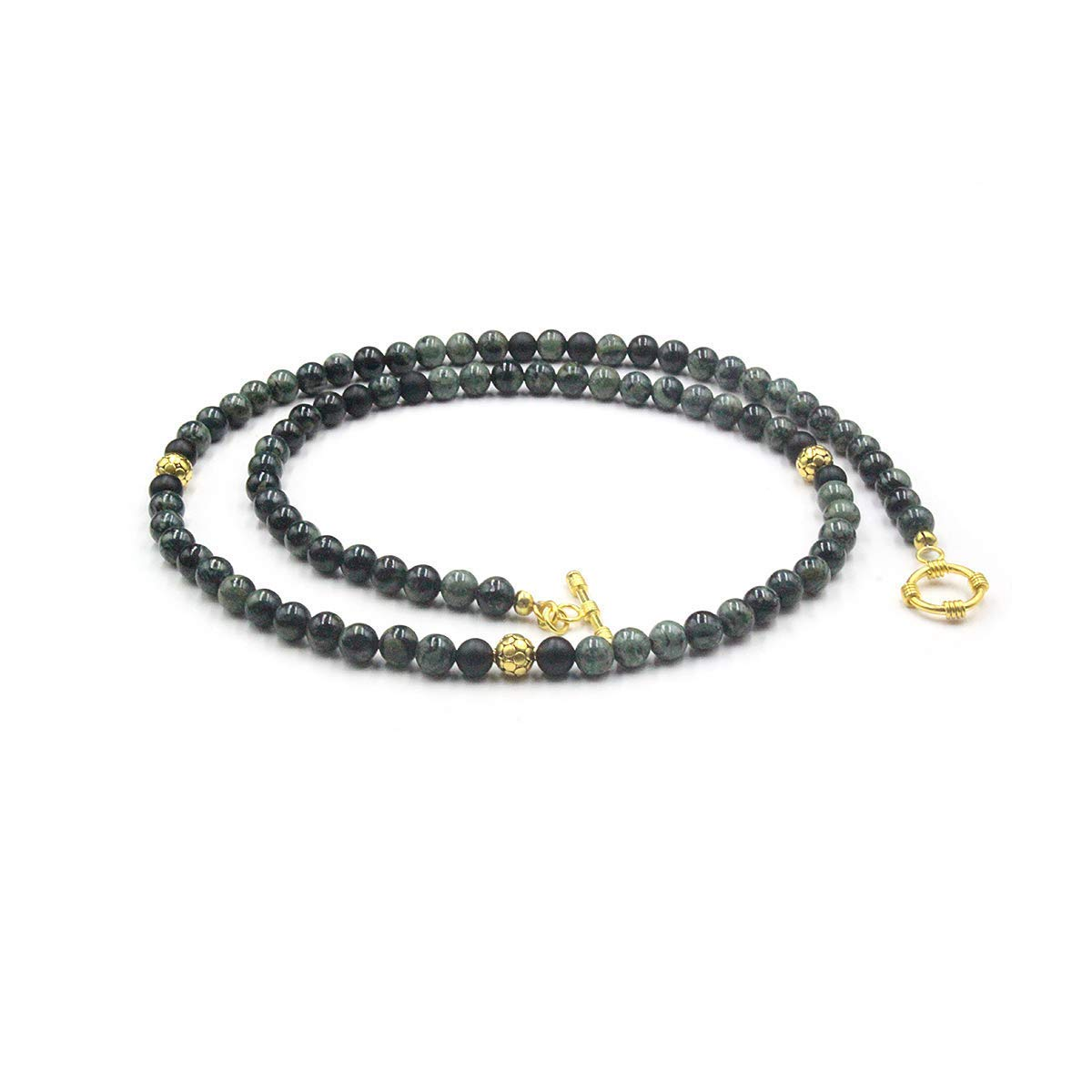 Dark Green Jade Necklace and Plated 22K Beads Gold National Recommended uniform free shipping Necklac