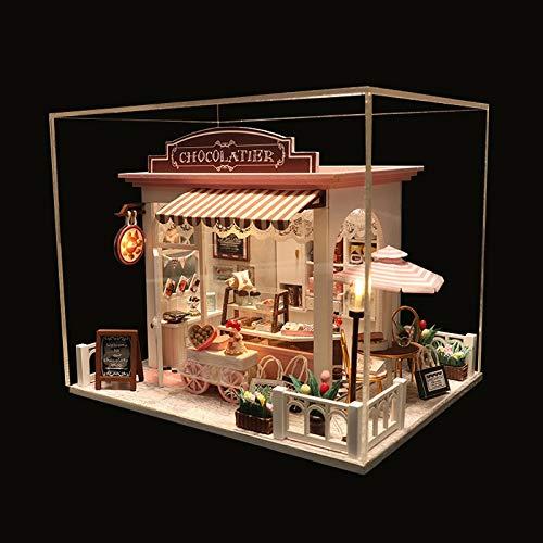 no-branded Casa de muñecas en miniatura con muebles de madera para niños, regalo de cumpleaños ZHQHYQHHX (color: con cubierta antipolvo, tamaño: gratis)