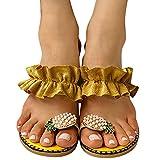 FeelFree+ Sandalias para Mujer Verano 2021 Punta plana Piña Perla Bohemia Zapatos casual Sandalias playa Zapatillas de Mujer Zapatillas Casa de Interior Sandalias Chanclas Verano Fiesta Zapatos