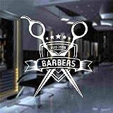 Hombre Barbería Pegatina Personalizada Chop Pan Decal Corte de Pelo Afeitadoras Posters Vinilo Arte de la Pared Tatuajes Decoración Decoración de Windows Blanco 58x66cm