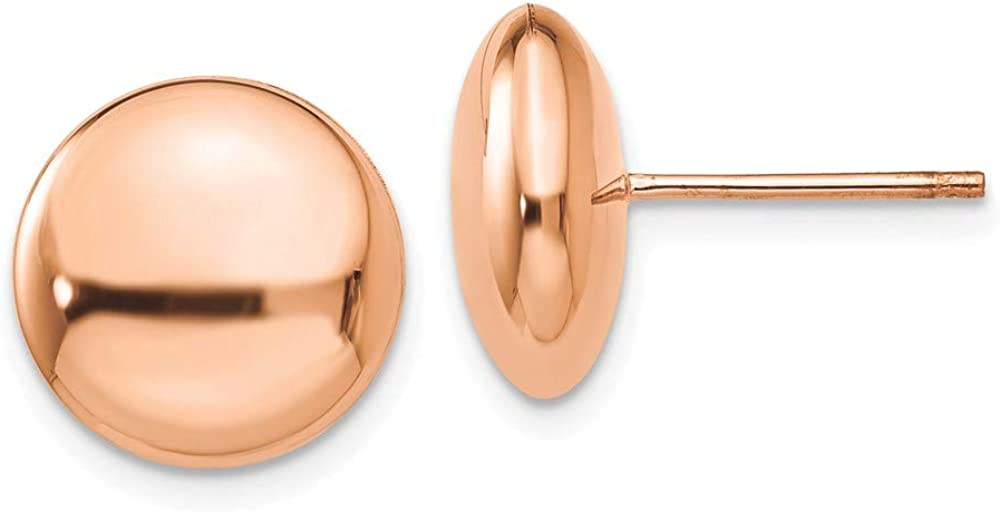 14k Rose Gold 12mm Button Post Stud Earrings Ball Fine Jewelry For Women Gifts For Her