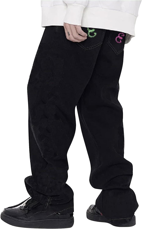 Men's Fashion Loose Stitching Denim Cotton Vintage Hip Hop Work Trousers Jeans