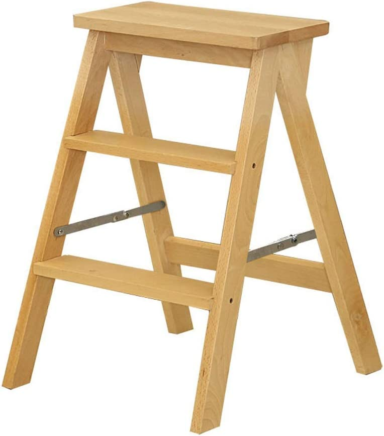 Ladder 2-step Stool discount Folding Wide Pedal Wooden Solid Max 45% OFF