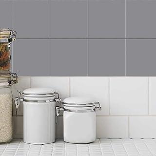 Holoras 50 Pegatinas de Transferencia para Azulejos de baño/Cocina, se pegan en la Pared, tamaño 15,24 x 15,24 cm, Gris, 4 * 4 Inches