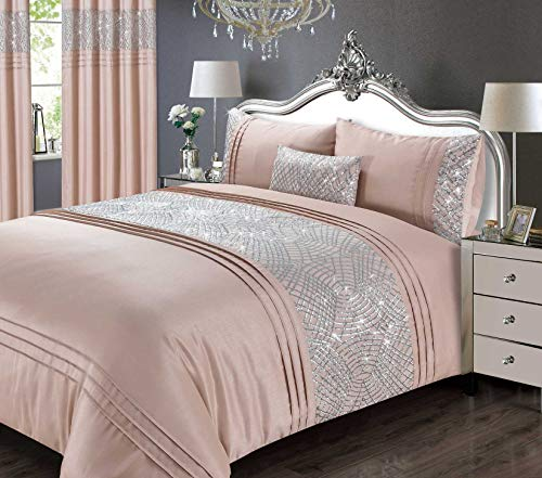Rapport Sequin Duvet Cover Bed Set, Blush, King