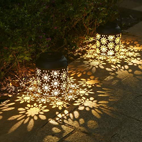 Tomshine Solar Laterne für außen, 2er Hängend Solarlaterne Dekorative Metall, Solarlampe IP65 Wasserdicht Auto Ein/Aus Solarleuchte Gartendeko Solar Gartenlaterne für Patio, Terrasse (Blumenmuster)