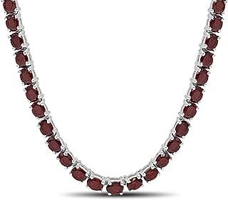 Luv Eclipse Fine Garnet Necklace in Sterling Silver