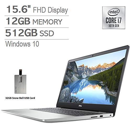 2020 Dell Inspiron 15.6' FHD Laptop, Intel Core i7-1065G7 Processor, 12GB DDR4 RAM, 512GB SSD, Backlit Keyboard, MaxxAudio Pro, Webcam, HDMI, Windows 10 - Silver, Snow Bell 32GB USB Card