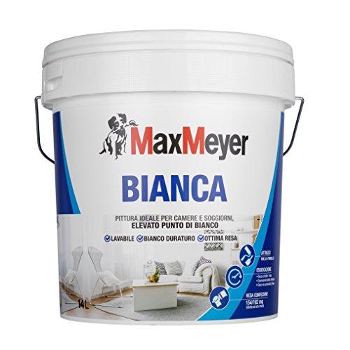 MaxMeyer Pittura per interni Bianca Lavabile per camere e soggiorni BIANCO 14 L