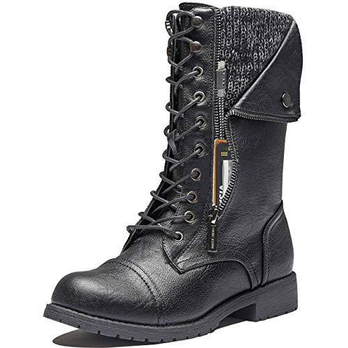 DailyShoes Womens Laceup Boots Women's Boots Fashion Soft Flat Toe Buckle Combat Riding High Booties Mid-Height Lace Up Pocket Black,pu,9