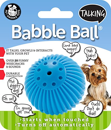 Pet Qwerks Talking Babble Ball Interactive Dog Toys - Wisecracks & Makes Funny Sounds, Electronic Talking Treat Ball that Talks & Makes Noise - Avoids Boredom & Keeps Active | For Small Dogs & Puppies