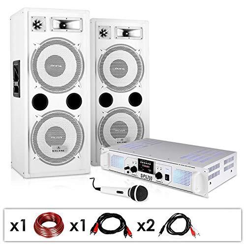 DJ PA Anlage DJ-22 Komplettsystem aus Verstärker Boxen Mic Kabel 1000W (Musik über USB SD Stereo-Chinch, für 200 Personen) Schwarzlicht tauglich weiß
