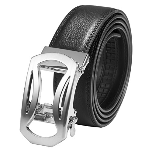 ManChDa Uomo Cinture - con fibbia a scatto automatico Argento Arc-shaped Fibbia Cintura nera per uomo 49 pollici lunghezza Larghezza 35mm + Borsa rega