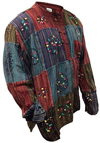 Shopoholic Fashion Hemd, Stonewashed, gestreift, Patchwork, bunt Gr. XXXL, Multi Color