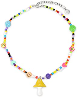COYERRAPO Y2K Beaded Necklace,Colorful Dice Smile Face Mushroom Heart Beaded Necklace,20 Inches Indie Jewelry for Women Men