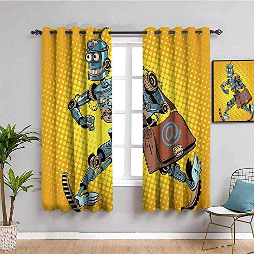 XLDYSC Kitchen Blackout Curtains Printed Curtains Thermal Insulated - Orange Cartoon Robot - Eyelet Window Treatment For Bedroom Nursery 150X160Cm