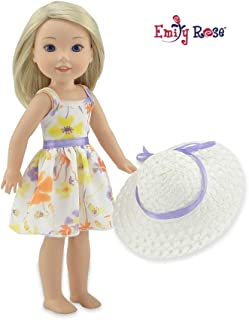 """Emily Rose 14 Inch Doll Chiffon Easter Doll Dress with White Hat   Fits 14"""" American Girl Wellie Wishers and Glitter Girls..."""