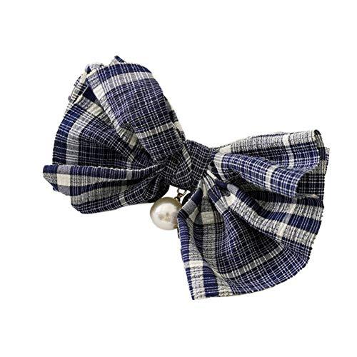 Nescop 1 x Haarnadel für Damen, kreatives Gitter-Haarnadel, Perlen, Haarschleife, Schmuck, marineblau.