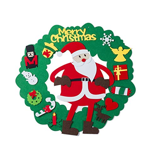 Gfilay Felt Christmas Wreath DIY Christmas Tree for Kids with 15pcs Set Wall Hanging Detachable Ornaments Kids Xmas Gifts Children Christmas Home Decorations