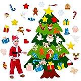 Bivan Fieltro Árbol de Navidad, 3.28ft DIY Árbol de Navidad de 5 Capas con 25 Piezas de Adornos, para Niños Regalos de año Navidad Puerta Decoración Mural