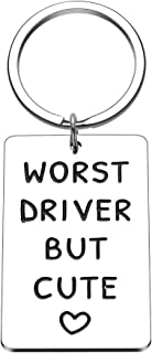 Worst Driver But Cute Keychain for Boyfriend Girlfriend Funny New Drive Gifts for Teen Girls Boys Car Keys Keychain for Women Men Husband Wife Trucker Gift for Her Him Friend