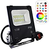 Mobri 15W LED Floodlight,Outdoor/Indoor Colour Changing Flood Lights with Remote Control, 120 RGB