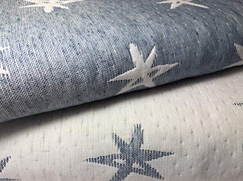 NORA HOME Colcha Cubrecama Piqué de Jacquard Mod. Estelar con Estrellas. Reversible. Todas Las Medidas (Azul, 235x260 cm (Cama 135))