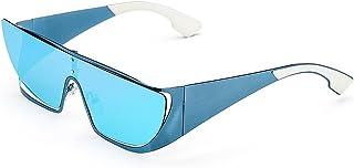 サングラス 女性 ワンピースレンズ オーバーサイズ メタルフレーム 紫外線保護 カラフルレンズ 運転 サングラス