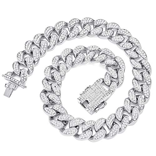 20mm Width Heavy Cuban Link Chain for Men Iced Out Bling Hip Hop Necklace Silver Plated Rhinestone Clasp Women Choker Chain 18'
