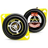 """Car Two Way Speaker System - Pro 3.5 Inch 120 Watt 4 Ohm Mid Tweeter Component Audio Sound Speakers For Car Stereo w/ 20 Oz Magnet Structure, 1.65"""" Mount Depth Fits Standard OEM - Pyle PLG3.2 (Pair)"""