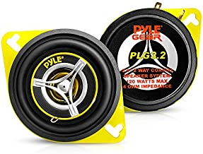 """Car Two Way Speaker System - Pro 3.5 Inch 120 Watt 4 Ohm Mid Tweeter Component Audio Sound Speakers For Car Stereo w/ 20 Oz Magnet Structure, 1.65"""" Mount Depth Fits Standard OEM - Pyle PLG3.2"""