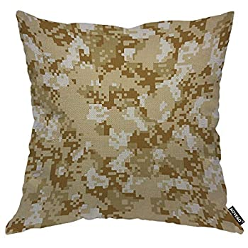 AOYEGO Desert Sand Camo Throw Pillow Cover Marine Soldier Camouflage Army Military Combat Hiding Pillow Case 18x18 Inch Decorative Cotton Linen Square Cushion for Home Couch Bed