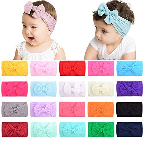 choicbaby 20PCS Baby Nylon Stirnbänder Haarbänder Haarschleife Gummibänder für Babys Neugeborene Kleinkinder Kinder