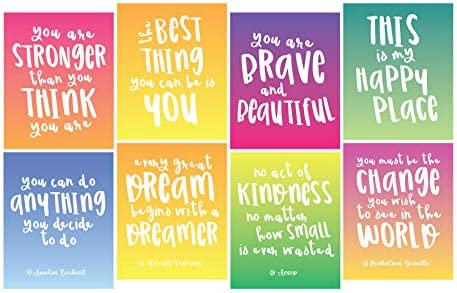 Focus and Zeal Inspirational Wall Art 8 Pack 8 Different Motivational Quotes for Girls on 8 product image