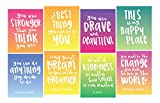 Focus and Zeal Inspirational Wall Art 8 Pack - 8 Different Motivational Quotes for Girls on 8'x10' Wall Prints - Great Posters for Girl's Bedrooms, Dorms, and Homes