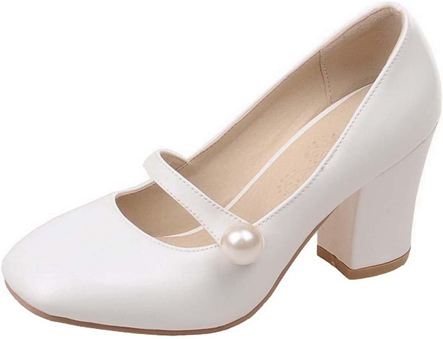 WeenFashion Women's Kitten-Heels PU Solid Pull-On Square-Toe Pumps-shoes,AMGDX007088