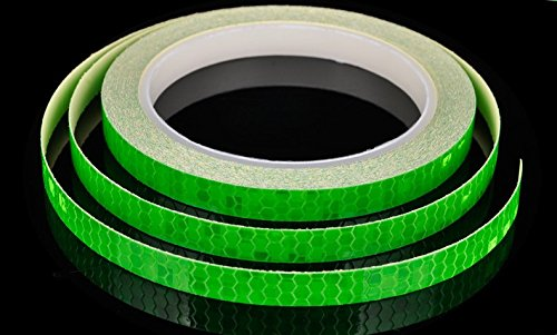 AM Safety Reflective Warning Lighting Sticker Adhesive Tape Roll Strip. for Beautify Bicycle Bike Decoration (Green)
