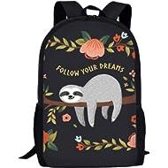 "Showudesigns""Follow Your Dreams"" School Bag Shoulder Backpack for Kids Boys Girls Sloth Book Bag..."