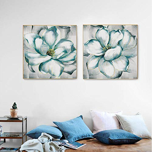 Abstract Groene Witte Bloem Poster Plant Print Populaire Wandafbeelding, Woonkamer Slaapkamer Luxe Decoratie Muurschilderingen 50x50cmx2 geen Frame
