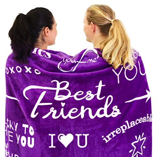 Best Friend Blanket - Super Soft Fleece Throw | Best Friend Birthday Gifts for Women and Friendship Gifts for Teen Girls, BFF, or Sister | A Long Distance Valentine