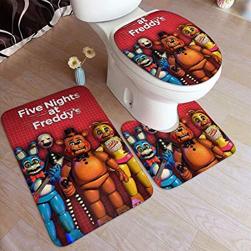 VASHU 3 Pcs Five Nights at Freddy's Bathroom Rugs Set Antiskid Pads with Non-Slip U Shaped Contour Toilet Lid Cover Rectangular Bath Mat