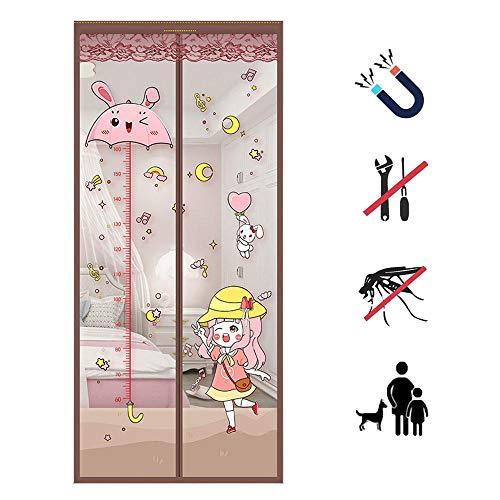 Mosquitera magnética para puerta,Cortina Protección contra Insectos,Sin Taladrar,se cierra automáticamente,para balcón,puertas corredizas,sala de estar,habitación de los niños,Café Girl-85x210