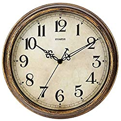 HYLANDA Wall Clock - 12 Inch Vintage Wall Clocks Battery Operated - Retro Silent Non Ticking - Decorative Living Room Home Kitchen School Office