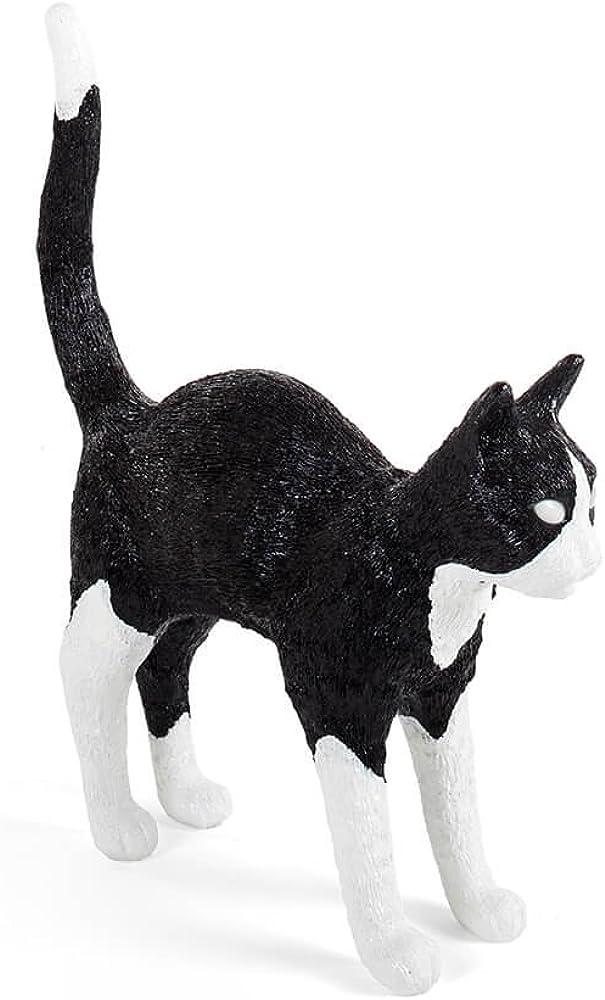 Seletti jobby the cat lamp black&white, lampada da tavolo a forma di gatto bianca e nera,in resina 15042