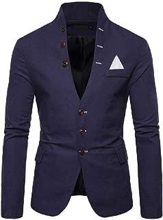 Howely Mens Single Breasted Casual Loose Mandarin Collar Premium Blazer Coat