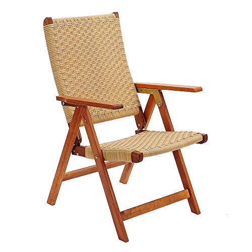 Achla Designs Eucalyptus Wood Polyweave Folding Chair