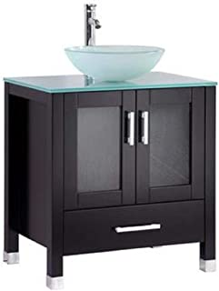 Belevedere bath Modern Espresso Bathroom Vanity with Glass Top and Raised Glass Sink |30 Inch Wide | Solid Wood with Soft Close Doors and Drawer